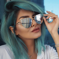 Silver Mirrored Metal Frame Chic Cat Eye Sunglasses