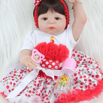 Silicone Baby - Reborn Full Body Doll - Baby Girl Red White Dress