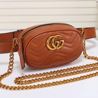 Gucci Fashionable Women Leather Metal Chain Crossbody Satchel Waist Bag Brown I/A