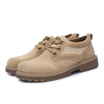 Men shoes % Suede Leather men Boots Classic Men's Flats Martin Cowboy Outdoor Work shoes Rubber Men Warm boots