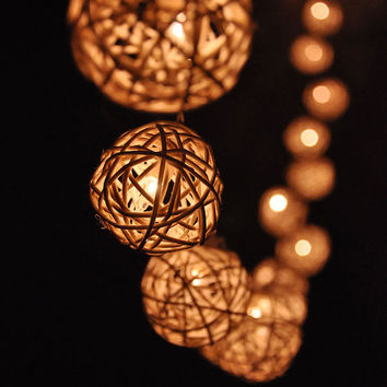 20 Bulbs Handmade Classic White Rattan ball string lights for Patio,Wedding,Party, Christmas Light, Party Lights and Decoration