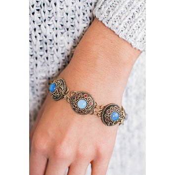 Darrien Medallion Bracelet (Blue/Gold)