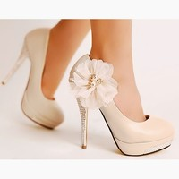 Elegant Women's High Heels Stilettos Pump Classic Shoes Flower Beads Wedding 1nL