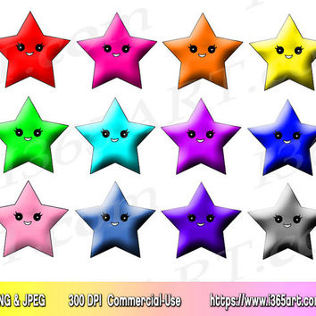 Kawaii Star Clipart Clip art, Clipart Stars, Scrapbooking, Party Invitations, Star Graphics, PNG JPEG, Download, Commercial-Use