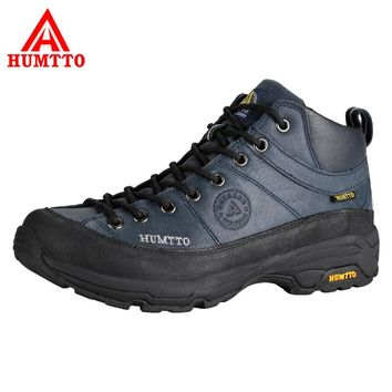HUMTTO Men Hiking Shoes Outdoor Shoes Full-Grain Leather Waterproof Climbing Shoes Hard-Wearing Thermal Boots Mountain Sneakers