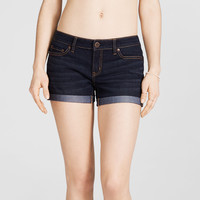 Dark Wash Cuffed Denim Midi Shorts