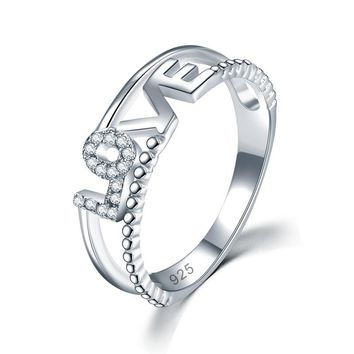 Solid 925 Sterling Silver Ring Band Fashion LOVE 2018 New Style for Girls / Ladies