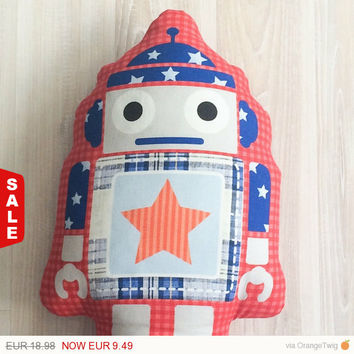 Sale 50% Robot Pillow, pillows for kids, pillows for boys, designer decorative pillows, kids decorative pillows, designer pillows for boys