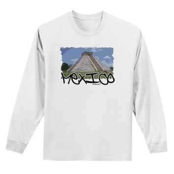Mexico - Mayan Temple Cut-out Adult Long Sleeve Shirt