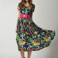 Blue Short Sleeve Floral Pleated Belt Chiffon Dress -SheIn(Sheinside)