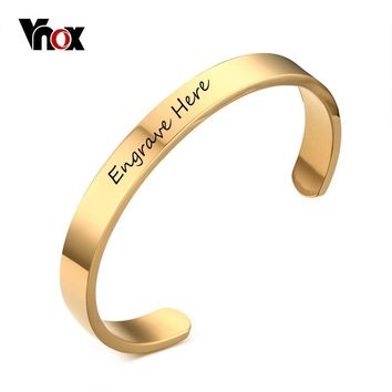 Vnox Bracelet Customized Jewelry Free Engraving Stainless Steel 6mm 8mm Men Jewelry Cuff Gold Color Open Bangle Bracelet Women