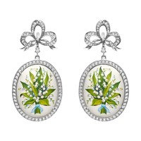 Axenoff Jewellery Lily Oval Earrings - Green White Silver Hand Painted Earrings