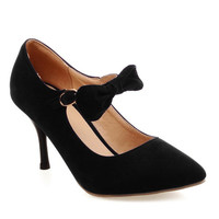 Buckle Point Toe Bow Suede Pumps