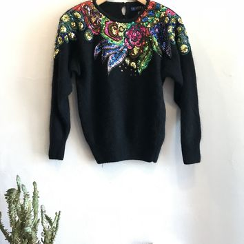 IB Diffusion Rabbit Hair Sweater with Sequin Embellishments
