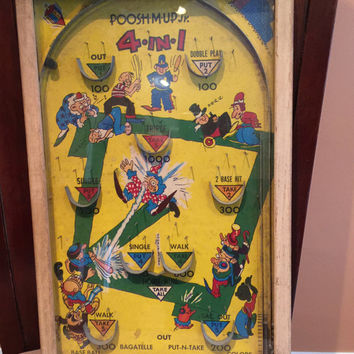 Vintage Pinball Game, Poosh M Up Jr, Baseball Graphics, Tabletop Board Game, 4 in 1 Games, Bagatelle, Colors, PutNTake, Spring Action