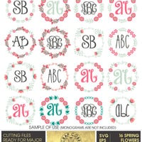 16 Spring Flowers Monogram Frames, SVG, eps, dxf, PNG, Digital Vector Files for Logo, Invitations, Vinyl Decals, cutting machines, cv-404