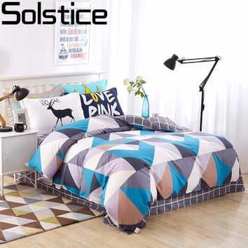 Solstice Home Textile Cotton Colored Rhombus Girls/boys Bedding Set Bed Linen Kids Duvet Cover Sets Twin Full Queen King Size