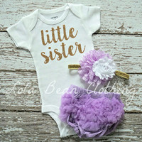 NEW Baby Girl Take Home Outfit Newborn Baby Girl Little Sister Bodysuit Lavender Bloomers Gold White Headband Set
