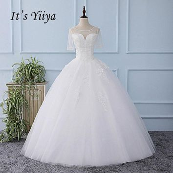 It's YiiYa Short Sleeve Illusion Wedding Dress Lace Appliques Floor Length Bride Wedding Gown Vestidos De Novia Casamento XL618