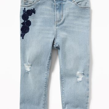 Embroidered Distressed Boyfriend Jeans for Toddler Girls|old-navy