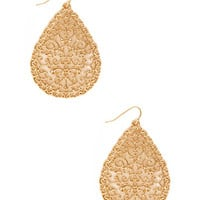 FOREVER 21 Filigree Teardrop Earrings Gold One
