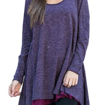 Orchid Swingy Layered Long Sleeve Tunic Top