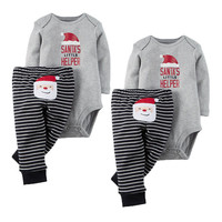 Boys Girls Romper Santa Claus Stripped Pant 2PCS Outfit