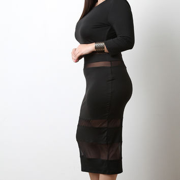 Mesh Stripe Panel Midi Dress
