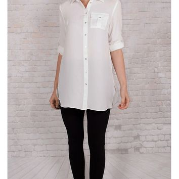 JOTHIRTY Tunic Shirt with Chest Pocket in White