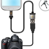 Accessory Genie Datastream Micro USB OTG to USB 2.0 Host Cable Adapter for USB On-The-Go Compatible Devices to use with Select Canon and Nikon DSLR Cameras Bundle with Mini Tripod - 6 Inch