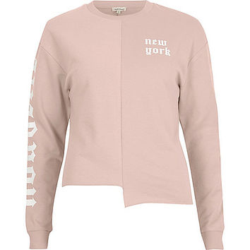Pink 'New York' print splice sweatshirt - hoodies / sweatshirts - t shirts / tanks - tops - women