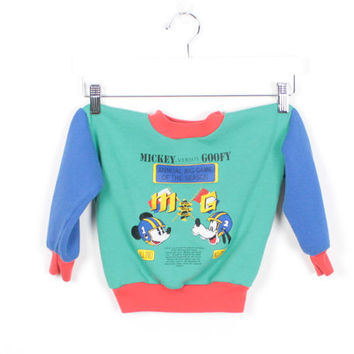 Vintage 1980s Toddler Sweatshirt Green Red Blue Color Block Mickey Mouse Sweatshirt long Sleeve Sweater Tshirt Goofy Football pullover 3t 4t