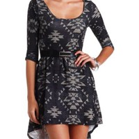 Belted Tribal Print High-Low Skater Dress - Black Combo