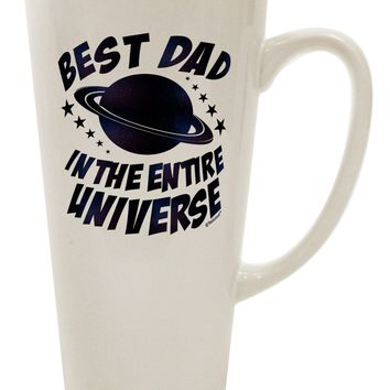 Best Dad in the Entire Universe - Galaxy Print 16 Ounce Conical Latte Coffee Mug