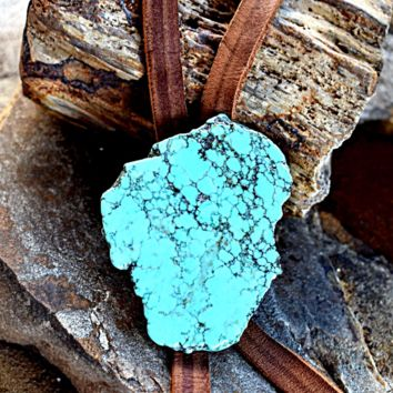 Large Turquoise Slab Bolo Thick Leather Necklace