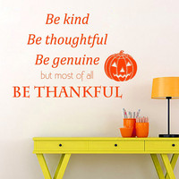 Halloween Wall Decal Quote Holiday Stikers Happy Halloween Vinyl Letters Be Thankful Home Decor Living Room Pumpkin Art Interior Design KY25