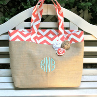 Coral Chevron and Burlap Beach Tote Custom by 3littlemustardseeds