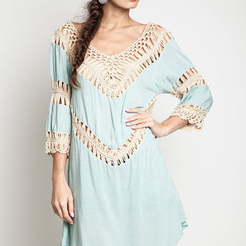 Crochet Knit Tunic Mint