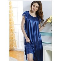 Women Short Sleeves Silk Night Gown In Solid Colors And Lace Trim