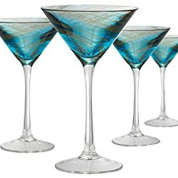 Artland Misty Martini Glass (Set of 4), 8 oz, Aqua
