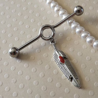 Feather Industrial Barbell 14ga with Red Accent Industrial Piercing Body Jewelry