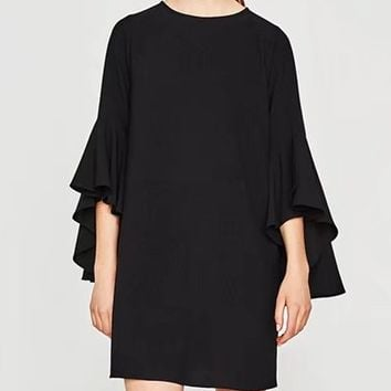 Black Flare Sleeve Shift Mini Dress