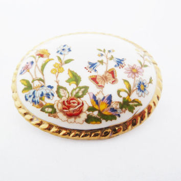 Aynsley Fine Bone China Oval Vintage Brooch with Flower and Butterfly Design Made in England