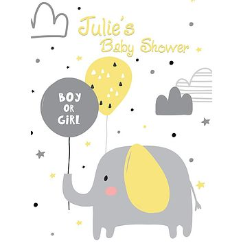 Custom Baby Shower Elephant Boy or Girl Balloon Backdrop (Any Color) Background - C0261