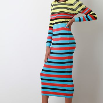 Neon Sweater Knit Two Piece Midi Dress Set