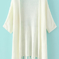 White Half Sleeve Fringed Knit Cardigan