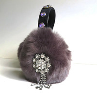 ear muffs/earmuffs/faux fur ear muffs/embellished earmuffs/halloween/beaded/bling/fluffy