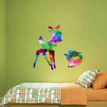 kcik2111 Full Color Wall decal Watercolor Bambi Character Disney Sticker Disney children's room Fawn