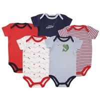 Luvable Friends Boys Bodysuit 5pk Fish (Hanging), 6-9 Months