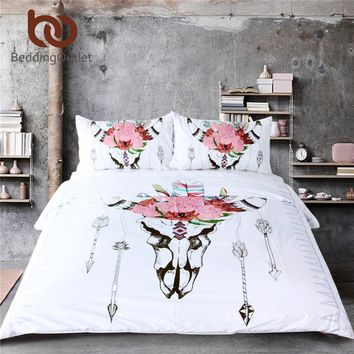 BeddingOutlet Bull Head Skull Duvet Cover Set Illustration of Skeleton Bull 3 Pcs Bedspread Blossoming Flowers Print Bedding Set